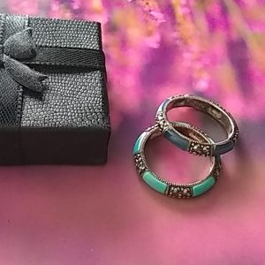 Rings, Marcasite StackRings (925 Mark)Size 9, Blue